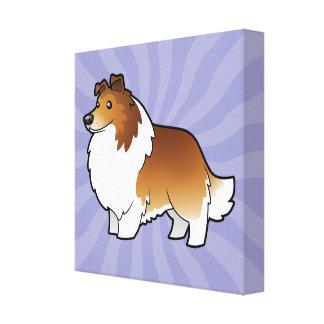 Cartoon Shetland Sheepdog / Collie Canvas Print