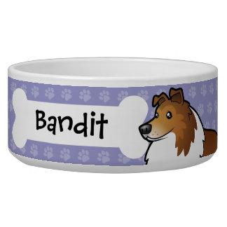 Cartoon Shetland Sheepdog / Collie Dog Bowls