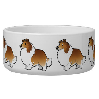 Cartoon Shetland Sheepdog / Collie Pet Water Bowl