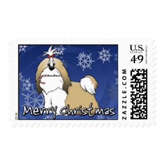 Cartoon Shih Tzu Christmas Stamp