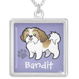 Cartoon Shih Tzu (puppy cut) (add your pets name) Square Pendant Necklace