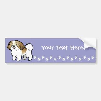 Cartoon Shih Tzu (puppy cut) Car Bumper Sticker