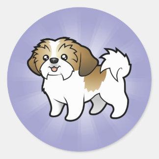 Cartoon Shih Tzu (puppy cut) Classic Round Sticker