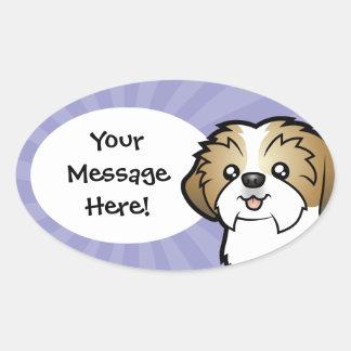 Cartoon Shih Tzu (puppy cut) Oval Sticker