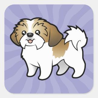 Cartoon Shih Tzu (puppy cut) Square Sticker