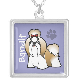 Cartoon Shih Tzu (show cut) (add your pets name) Square Pendant Necklace