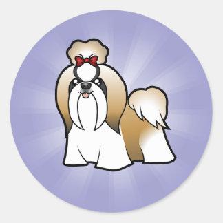 Cartoon Shih Tzu (show cut) Classic Round Sticker