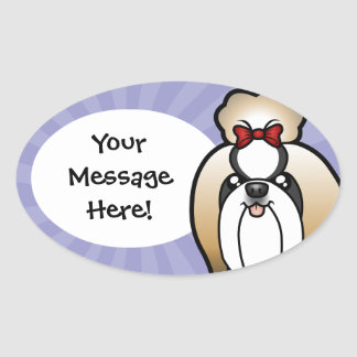 Cartoon Shih Tzu (show cut) Oval Sticker