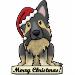 "Cartoon Shiloh Shepherd Cutout<br><div class=""desc"">Cute Shiloh Shepherd Christmas Ornament features the herding dog breed wearing a red Santa hat. The sign underneath him reads,  &quot;Merry Christmas!&quot; Cute Shiloh Shepherd Xmas ornaments for dog owners!</div>"