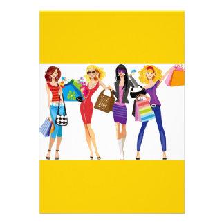 CARTOON SHOPPING GIRLS VECTORS FASHION STYLE FUN F CUSTOM INVITATIONS