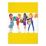 CARTOON SHOPPING GIRLS VECTORS FASHION STYLE FUN F 5X7 PAPER INVITATION CARD