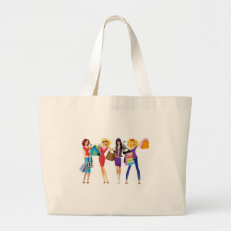 CARTOON SHOPPING GIRLS VECTORS FASHION STYLE FUN F LARGE TOTE BAG