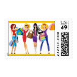 CARTOON SHOPPING GIRLS VECTORS FASHION STYLE FUN F STAMPS
