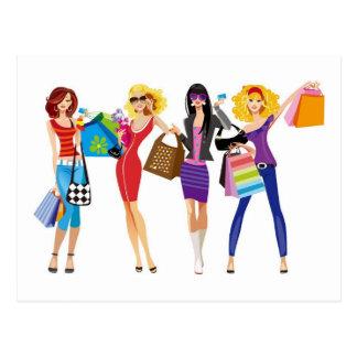CARTOON SHOPPING GIRLS VECTORS FASHION STYLE FUN F POSTCARD