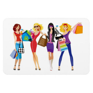 CARTOON SHOPPING GIRLS VECTORS FASHION STYLE FUN F RECTANGULAR PHOTO MAGNET