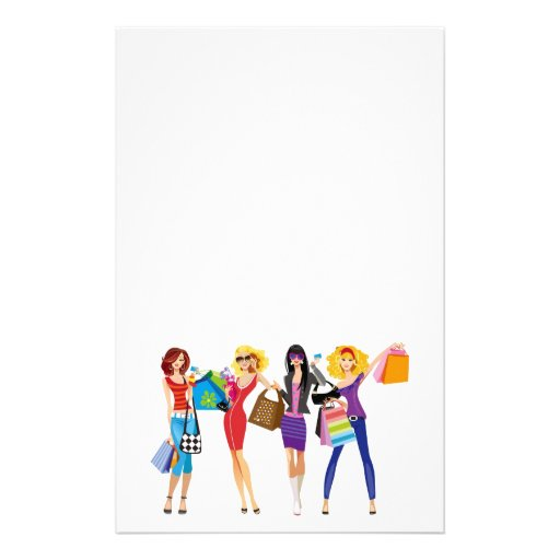 CARTOON SHOPPING GIRLS VECTORS FASHION STYLE FUN F STATIONERY DESIGN