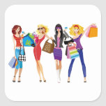 CARTOON SHOPPING GIRLS VECTORS FASHION STYLE FUN F SQUARE STICKERS
