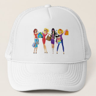 CARTOON SHOPPING GIRLS VECTORS FASHION STYLE FUN F TRUCKER HAT