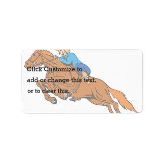 Cartoon Showing Cowboy Riding Horse Label