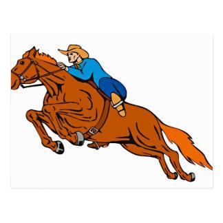 Cartoon Showing Cowboy Riding Horse Postcard