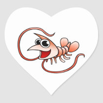 Cartoon Shrimp Heart Sticker