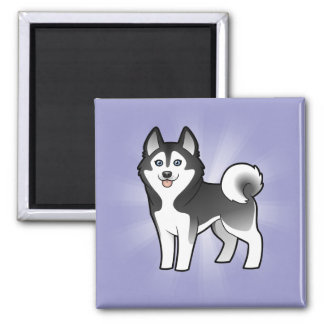 Cartoon Siberian Husky / Alaskan Malamute 2 Inch Square Magnet