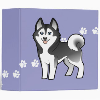 Cartoon Siberian Husky / Alaskan Malamute 3 Ring Binder