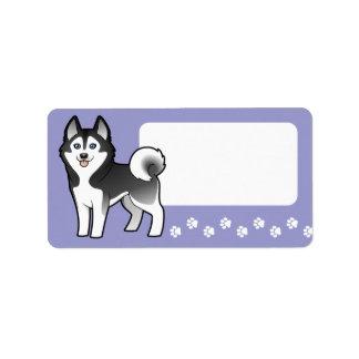 Cartoon Siberian Husky / Alaskan Malamute Address Label