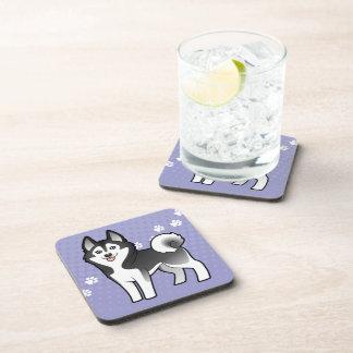 Cartoon Siberian Husky / Alaskan Malamute Beverage Coaster