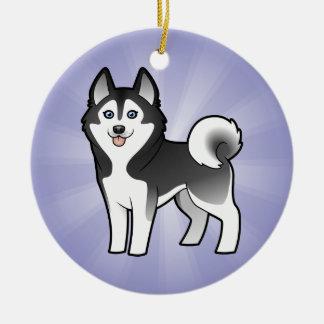 Cartoon Siberian Husky / Alaskan Malamute Ceramic Ornament