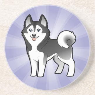 Cartoon Siberian Husky / Alaskan Malamute Coaster