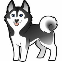 Cartoon Siberian Husky / Alaskan Malamute Cutout