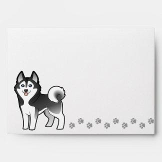 Cartoon Siberian Husky / Alaskan Malamute Envelope