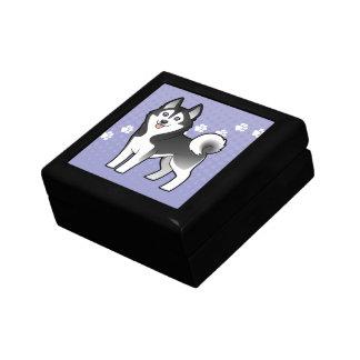 Cartoon Siberian Husky / Alaskan Malamute Keepsake Box