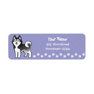 Cartoon Siberian Husky / Alaskan Malamute Label