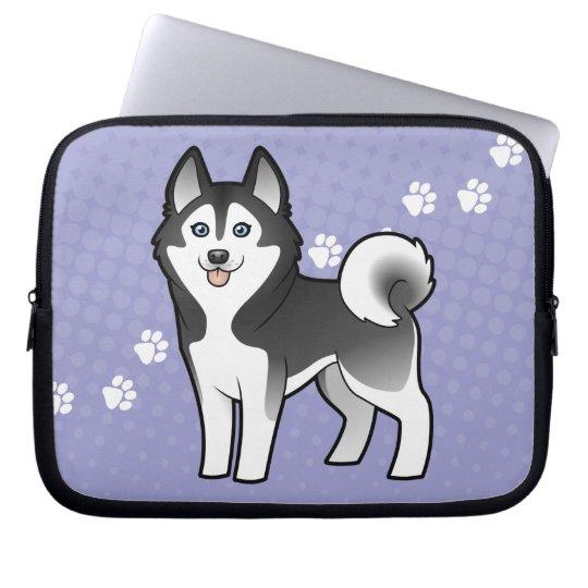 Cartoon Siberian Husky / Alaskan Malamute Laptop Sleeve