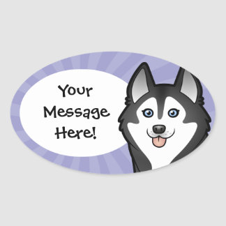 Cartoon Siberian Husky / Alaskan Malamute Oval Sticker