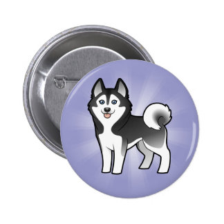 Cartoon Siberian Husky / Alaskan Malamute Pinback Button