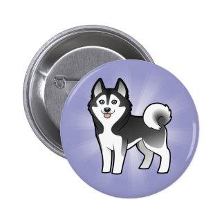 Cartoon Siberian Husky / Alaskan Malamute Pinback Button