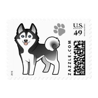 Cartoon Siberian Husky / Alaskan Malamute Postage