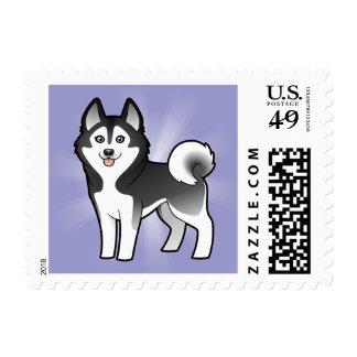 Cartoon Siberian Husky / Alaskan Malamute Postage Stamp