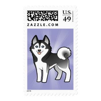Cartoon Siberian Husky / Alaskan Malamute Postage Stamps
