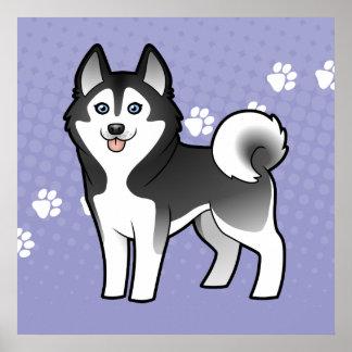 Cartoon Siberian Husky / Alaskan Malamute Poster