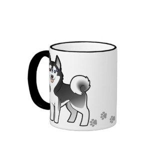 Cartoon Siberian Husky / Alaskan Malamute Ringer Coffee Mug