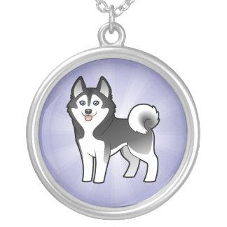 Cartoon Siberian Husky / Alaskan Malamute Silver Plated Necklace