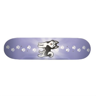 Cartoon Siberian Husky / Alaskan Malamute Skateboard Deck