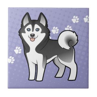 Cartoon Siberian Husky / Alaskan Malamute Small Square Tile