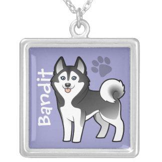 Cartoon Siberian Husky / Alaskan Malamute Square Pendant Necklace