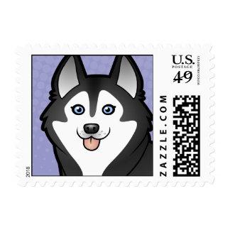 Cartoon Siberian Husky / Alaskan Malamute Stamp