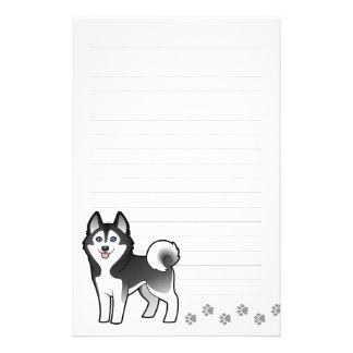 Cartoon Siberian Husky / Alaskan Malamute Stationery
